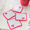 Easy as 1-2-3 -- Four Corner Heart Coasters